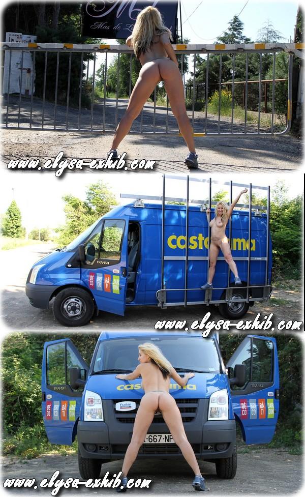 00219 Nue et exhib avec la camionette Casto