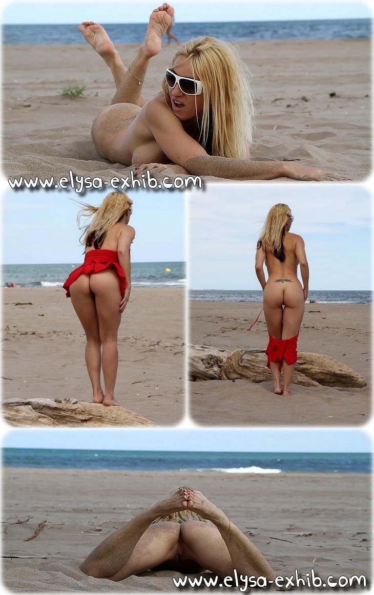 002 Nue sur une plage textile