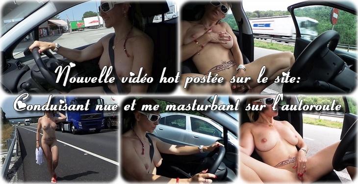 0026 Conduisant nue et me masturbant sur lautoroute