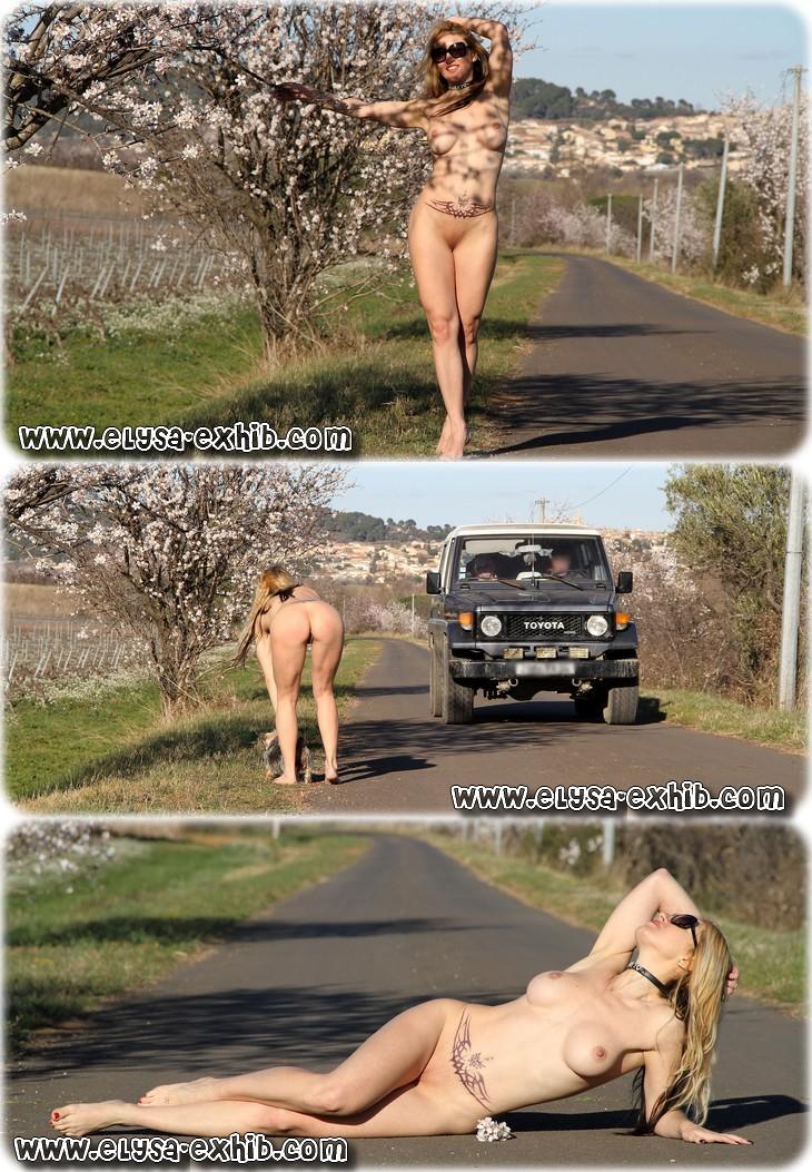 0017 Toute nue sur la route en hiver