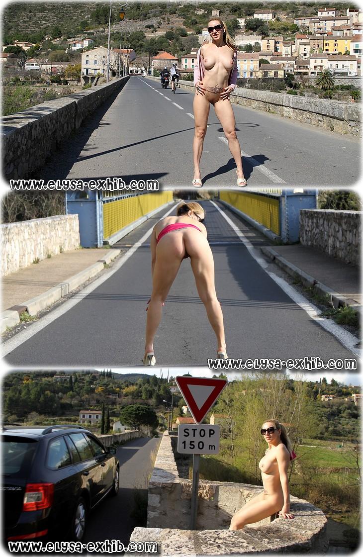 0017 Mexhibant toute nue sur la route
