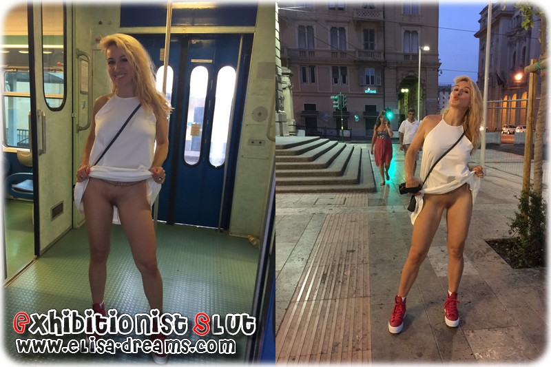 0082 Exhibant mon minou, fesses et seins en Italie