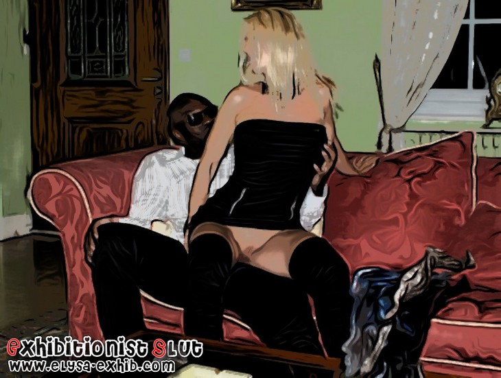 White slut no panties sit over her black lover
