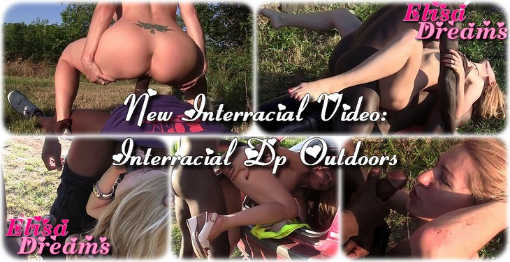 Interracial DP outdoors