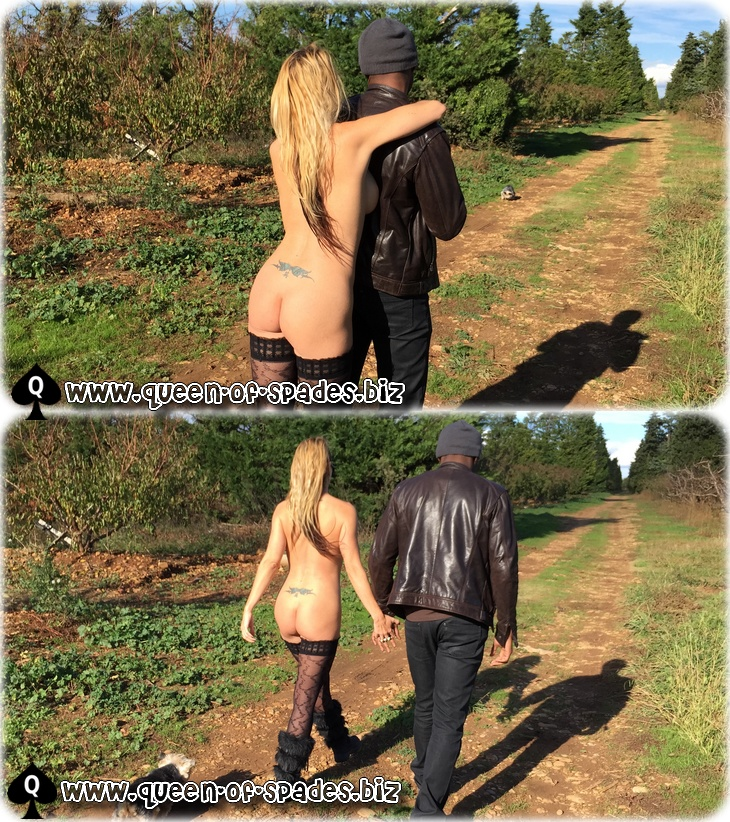 My nude wife strolling with her black lover