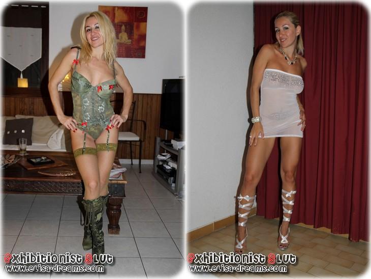 0064 Salope de femme portant différentes tenues sexy pour ses amants